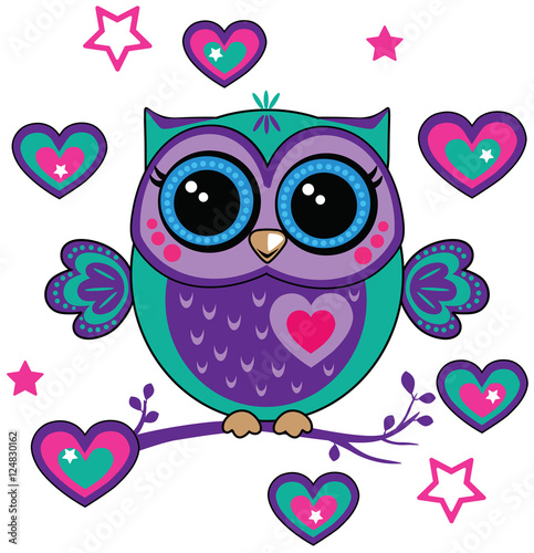 Foto op Aluminium Uilen cartoon cute owl with hearts