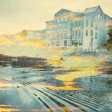 Contexte Fantaisie écologie Résumé. Paysage urbain mixte avec le naturel sur papier Texture. Rétro Style