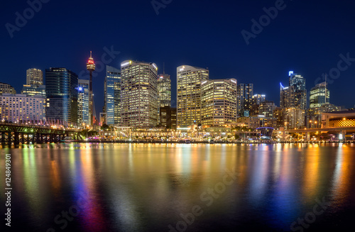 Poster Sydney SYDNEY, AUSTRALIA - October 26, 2015 : Night scene of Darling Ha