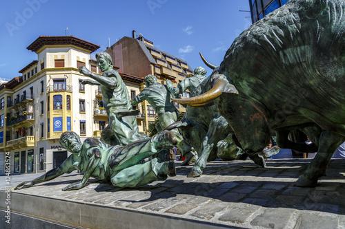 Statue of Encierros in Pamplona Spain