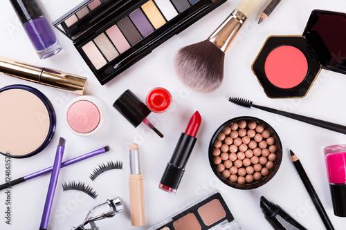 top view of makeup cosmetics set - 124863579