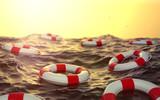 3d Ozean mit Rettungsringe