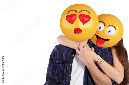 Emoji head man and woman. Beautiful couple. Poster