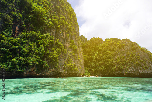 Poster Travel vacation background - Tropical island with resorts - Phi-Phi island, Krabi Province, Thailand