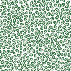 seamless abstract green leaves pattern, foliage vector