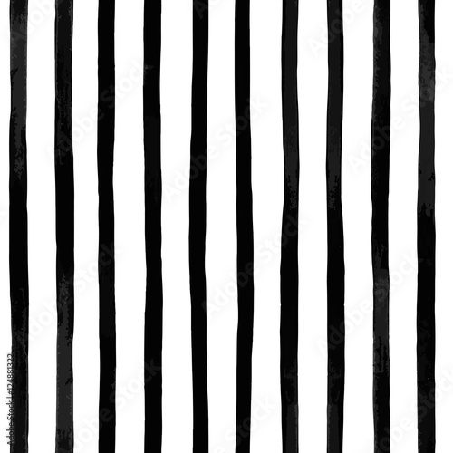 Cotton fabric Abstract vector seamless pattern with vertical black and white striped. Vintage textured background