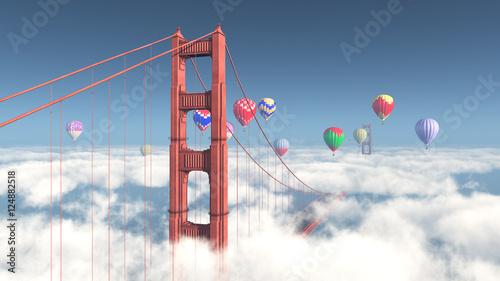 Golden Gate Bridge in San Francisco und Heißluftballone