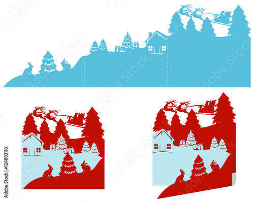 Plexiglas Hipster Hert Three-layer Christmas cards with deer, santa and fir trees. Template for laser cutting.