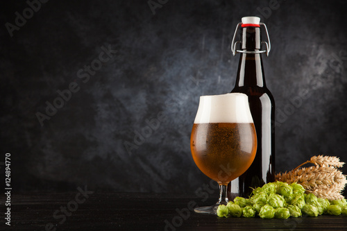 Beer glass on dark background Canvas