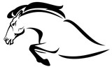 profile horse jump black and white vector outline - 124900521
