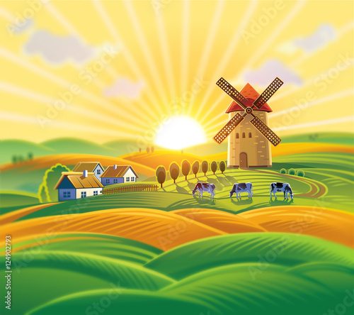 Deurstickers Zwavel geel Rural landscape with a windmill, village and herd cows on the background of sunset.