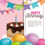 happy birthday invitation card vector illustration design