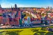 The view from above on Old Town in Gdansk, Poland.