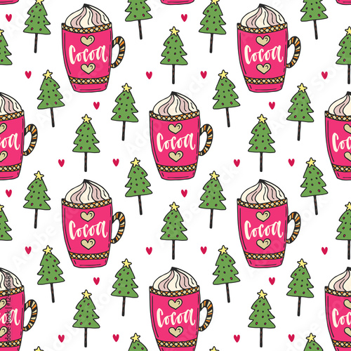 Materiał do szycia Cocoa background with winter trees. Sweet seamless pattern. Vector illustration