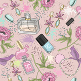 Seamless beauty pattern with make up, perfume, nail polish, flow - 124908342