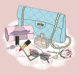 Fashion essentials. Background with bag, sunglasses, shoes, jewe - 124908385