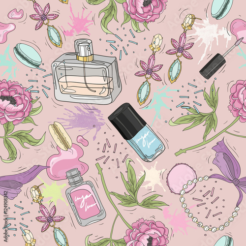 Seamless beauty pattern with make up, perfume, nail polish, flow