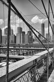 View from historic Brooklyn Bridge to  New York City, New York,