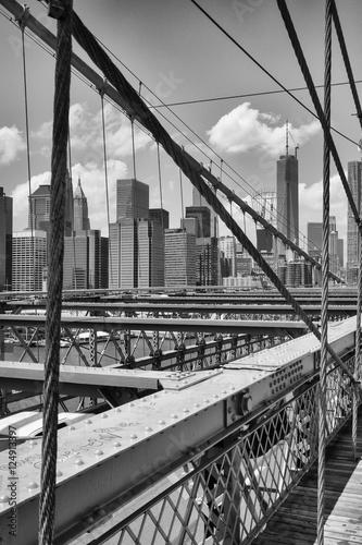 Fotobehang New York View from historic Brooklyn Bridge to New York City, New York,