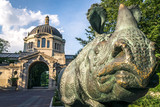 Bronx zoo center entrance.  It is the largest metropolitan zoo in the United States and among the largest in the world. Rhinoceros statue. - 124926159