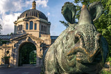 Bronx zoo center entrance.  It is the largest metropolitan zoo in the United States and among the largest in the world. Rhinoceros statue. - 124926172