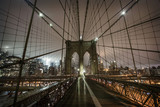 Brooklyn Bridge during a foggy night in New York