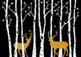 Fototapety Birch trees with gold Christmas deer, vector