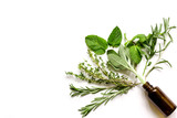 mint, sage, rosemary, thyme - aromatherapy white background - 124969131