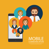 mobile application communication people character. business infographic.