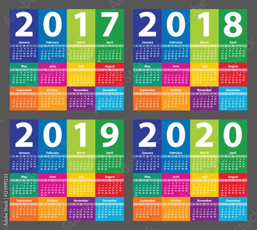 Color Calendar 2017 starting from Sunday. Vector illustration