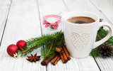 Cup of coffee and christmas decoration