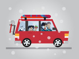 Family winter traveling. Travel by car. Flat design vector illustration.