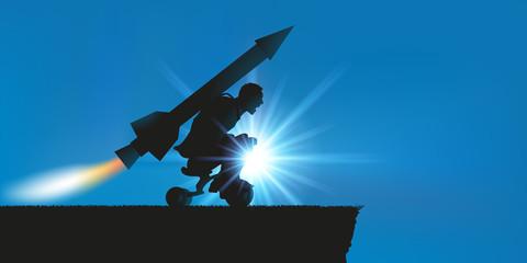 Volonté - motivation - start-up - homme fusée
