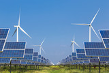 photovoltaics  solar panel and wind turbines generating electricity in solar power station alternative energy from nature   - 125016564