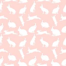 Śliczny królik ilustracji, bezszwowe wzór na różowym tle