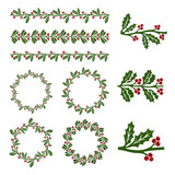 Fototapety Christmas holly decorations
