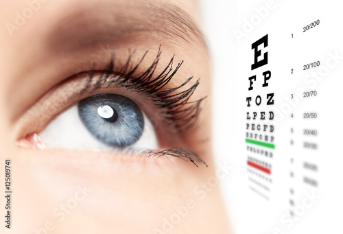 Juliste Close-up of woman blue eye with focus on pupil and eye vision chart on white background