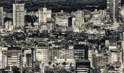 Tokyo, Japan. Beautiful aerial view of city buildings at night