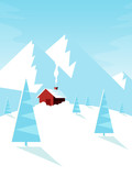 Winter landscape with mountains, cottage and pine tree. Flat design style.