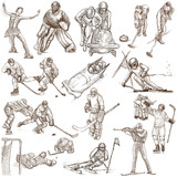 Winter Sports - An hand drawn collection - 125057933