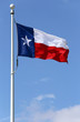 The flag of the state of Texas waving in the wind.
