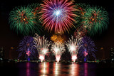Fototapety Beautiful firework display for celebration on the river