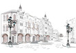 Series of street views in the old city. Hand drawn vector architectural background with historic buildings. - 125087761