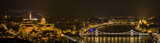 Budapest in the night, the Danube, the Parliament and the Buda Castle