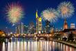 City of Frankfurt am Main at night with firework New year 2017