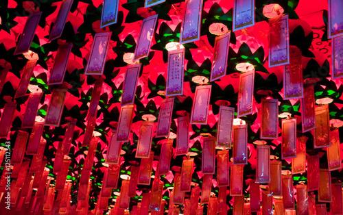 Foto op Canvas Zen Lungta, ritual wish flags hanging inside of Buddhist Yakcheonsa