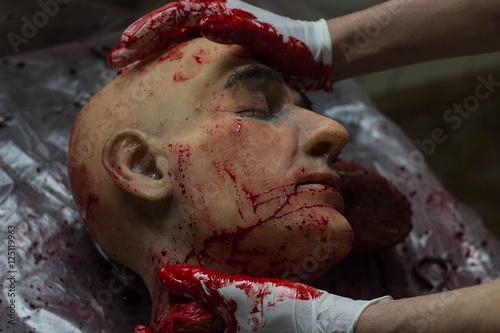 Части тела в крови на столе голова пальцы уши сердце мозг железные медецинские щ Poster