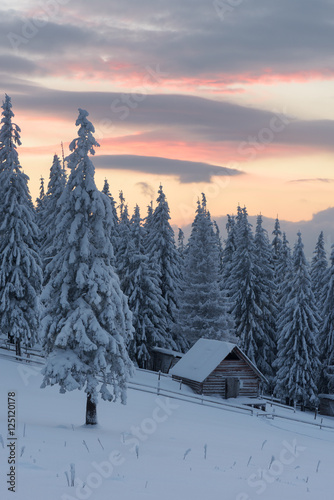 Obraz Winter landscape with wooden house in the mountains