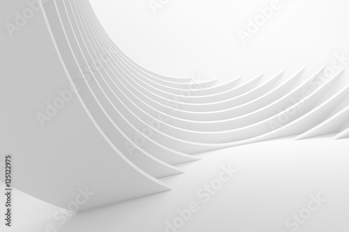 Tuinposter Abstract wave White Architecture Circular Background
