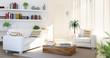 Salotto con divano bianco e poltrona luminoso nuovo minimal
